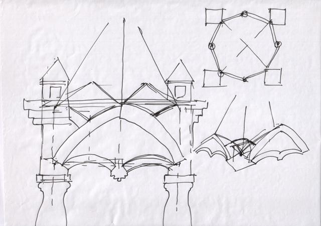 Схема конструкции крыльца.  Почиркушки - Крыльцо с кирпичными сводами 2. Архитектор Антон Булатецкий.