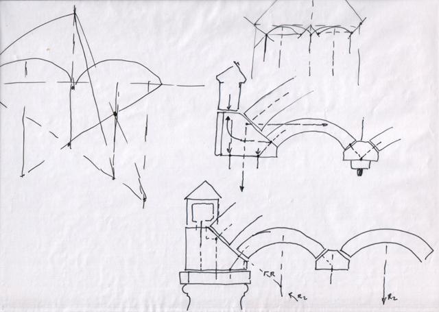 """""""распределение нагрузки от арки """": Антон Булатецкий; Эскизы ручкой на калькеАльбом."""