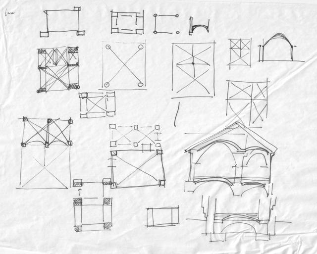 Планы опор и схема разреза для