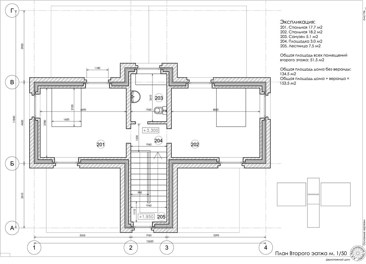 План второго этажа. кирпичный дом с колоннами. проект и фото.