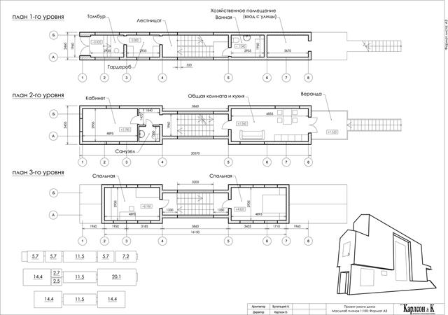 проект узкого и длинного дома