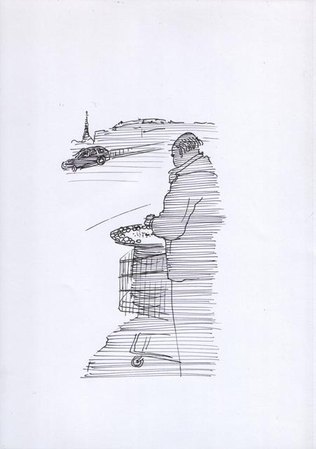 Продавец жареных каштанов. Завтрак туриста. Художник Алиса Зражевская