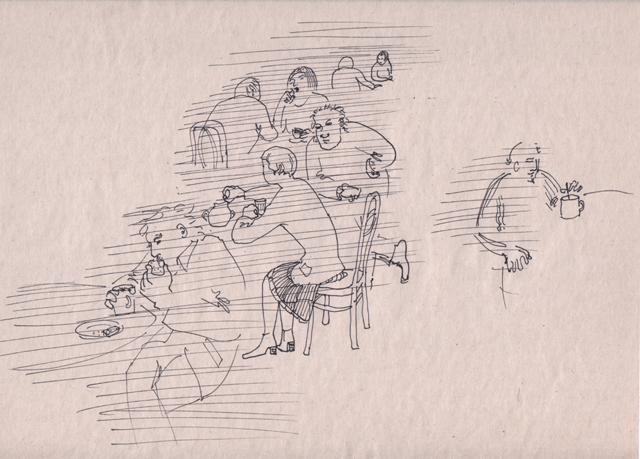 Кафе. Альбом рисунков номер 11. Художник Алиса Зражевская