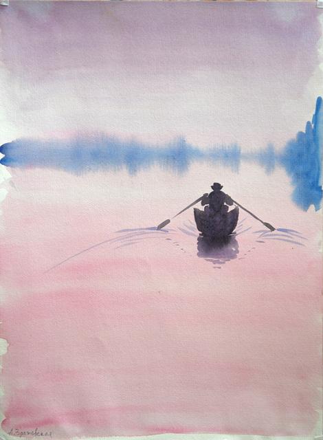 Петенев рано утром едет на рыбалку. Альбом рисунков: Одиночества полные штаны. Художник Алиса Зражевская