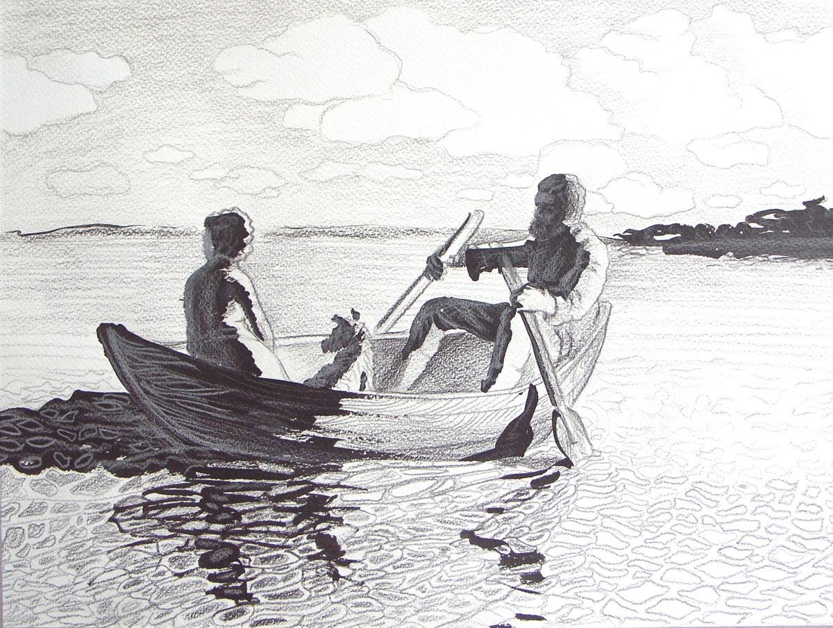 рисунок человека в лодке на реке