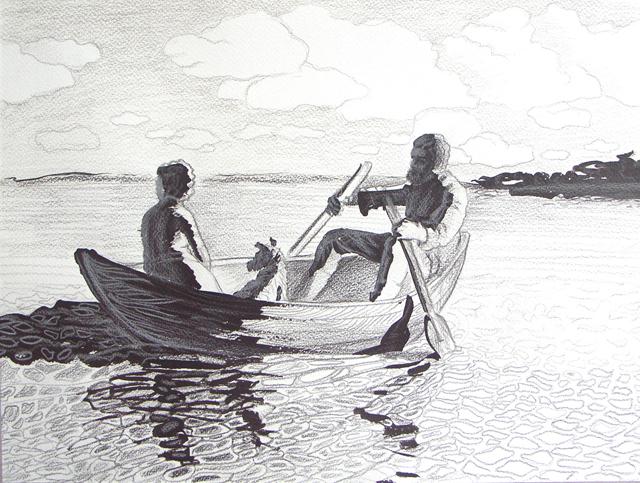 нарисовать реку людей в лодке