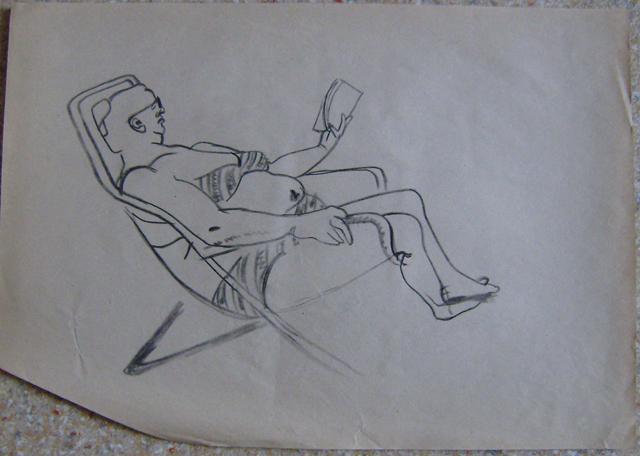 Фирочка читает в шезлонге. Старые наброски. Художник Алиса Зражевская
