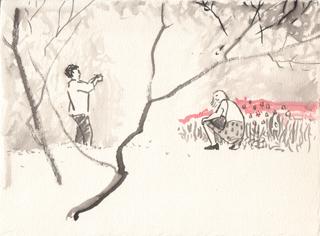 """Женщины, фотографируются на фоне тюльпанов, Весна в """"Огороде"""". Художник Алиса Зражевская"""